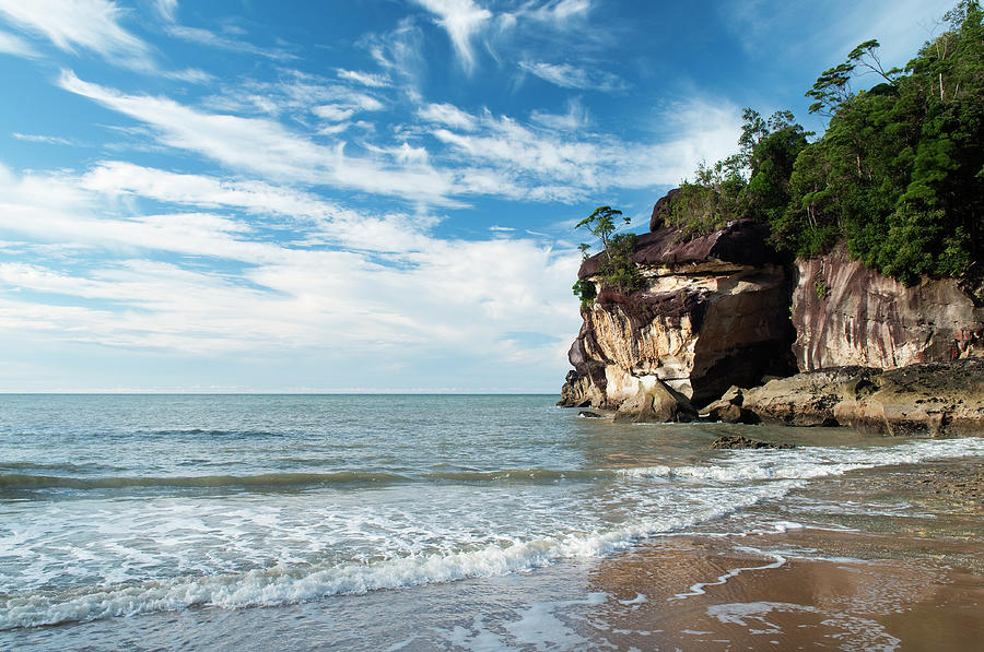 Sandstone Cliffs By Ocean At Telok Photograph by Anders Blomqvist