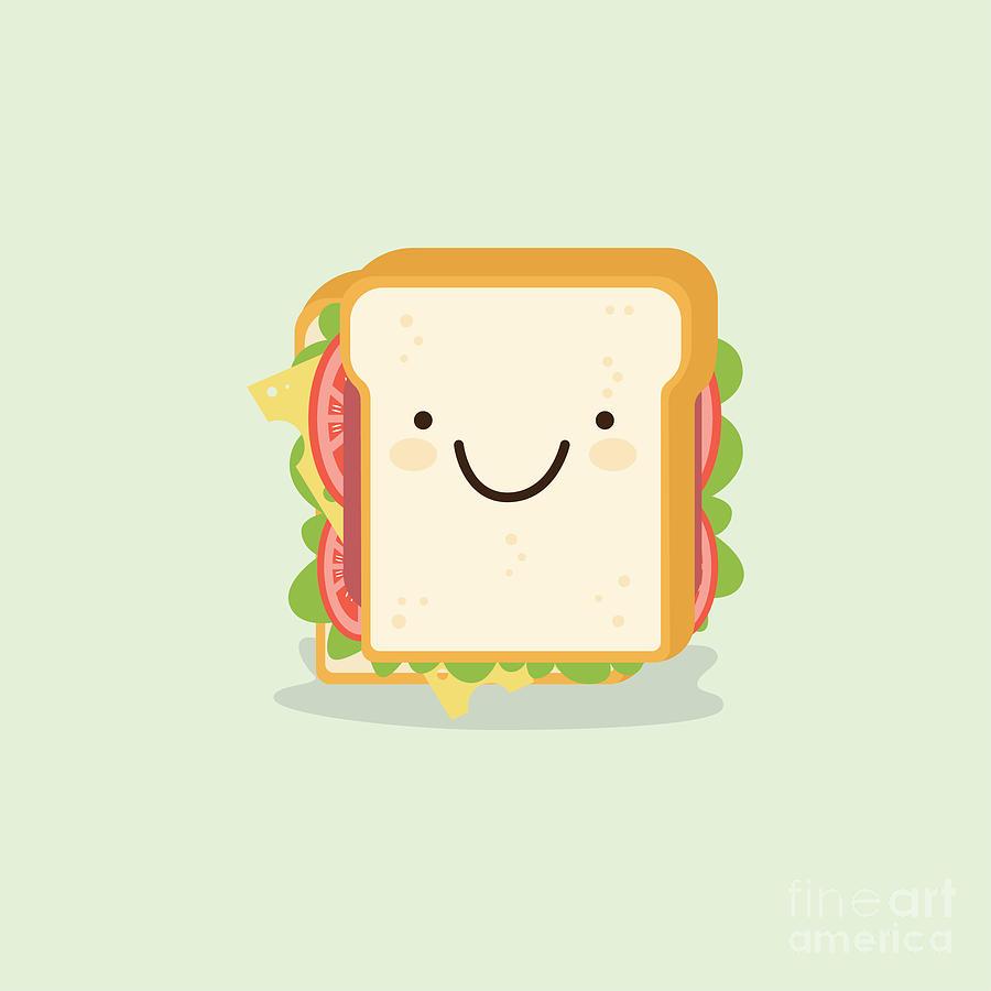 Symbol Digital Art - Sandwich Cartoon Vector Illustration by Metsi