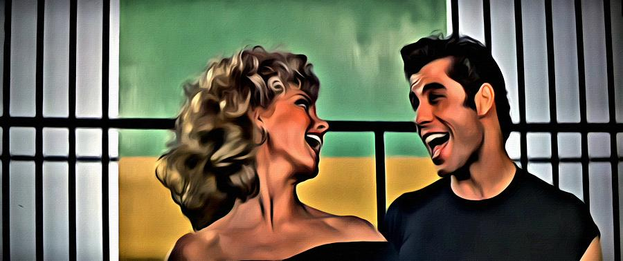 Grease Painting - Sandy And Danny by Florian Rodarte