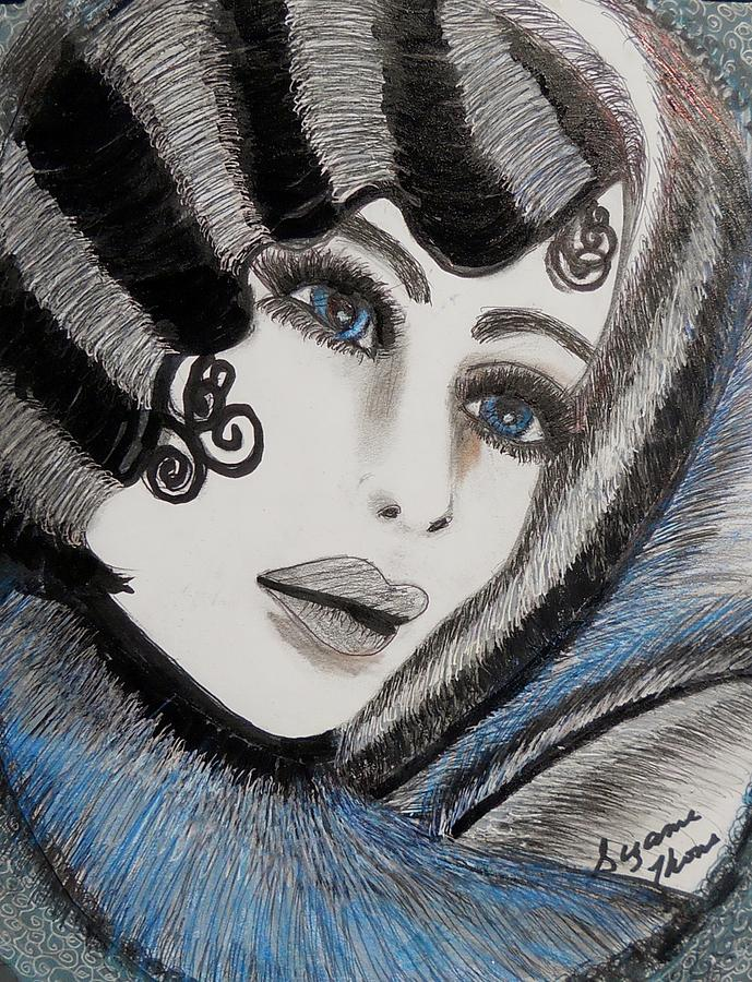 Model Paintings Drawing - Sandy Art Deco by Suzanne Thomas