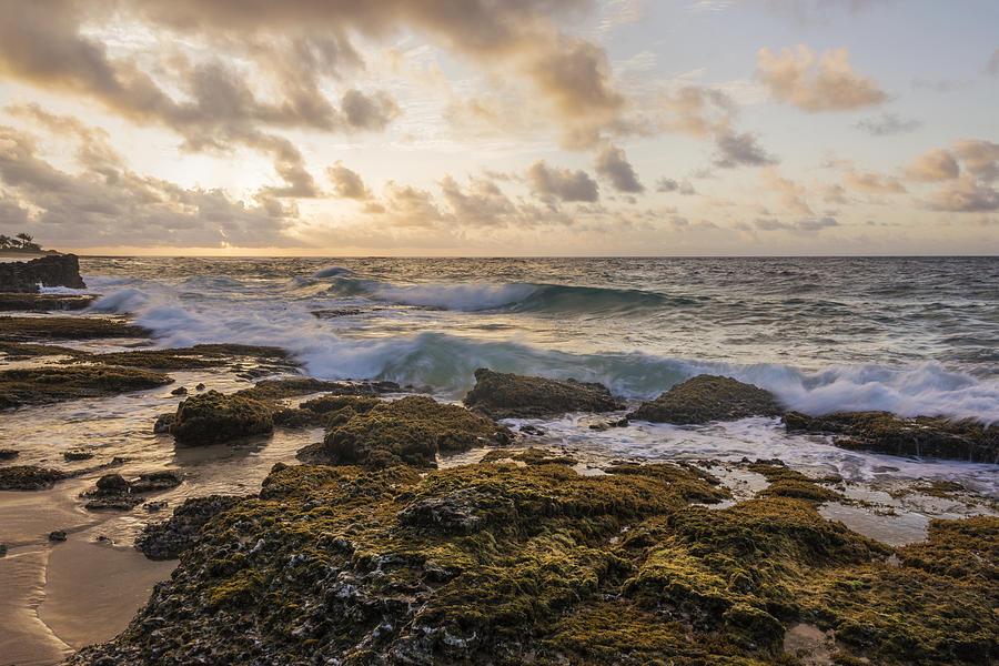 Sandy Beach Park Sunrise Lava Rock Seascape Photograph - Sandy Beach Sunrise 2 - Oahu Hawaii by Brian Harig
