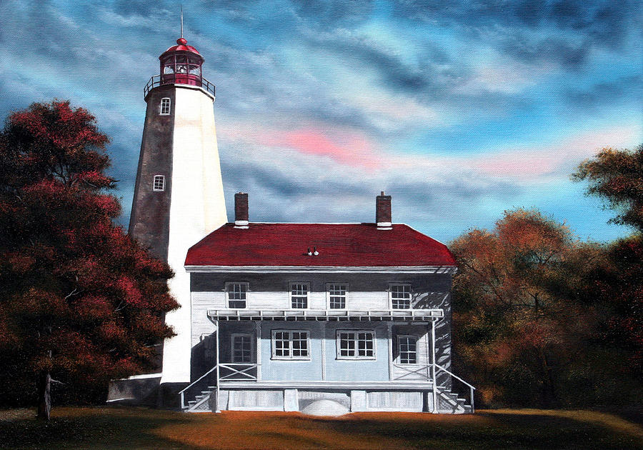 Lighthouse Painting - Sandy Hook Lighthouse by Daniel Carvalho
