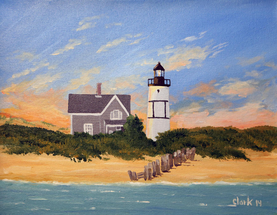Sandy Neck Lighthouse Cape Cod Ma Painting By Roger Clark