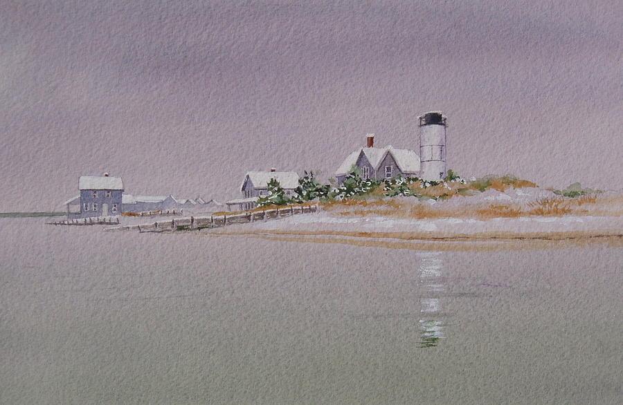 Lighthouse Painting - Sandy Neck Winter Light by Karol Wyckoff
