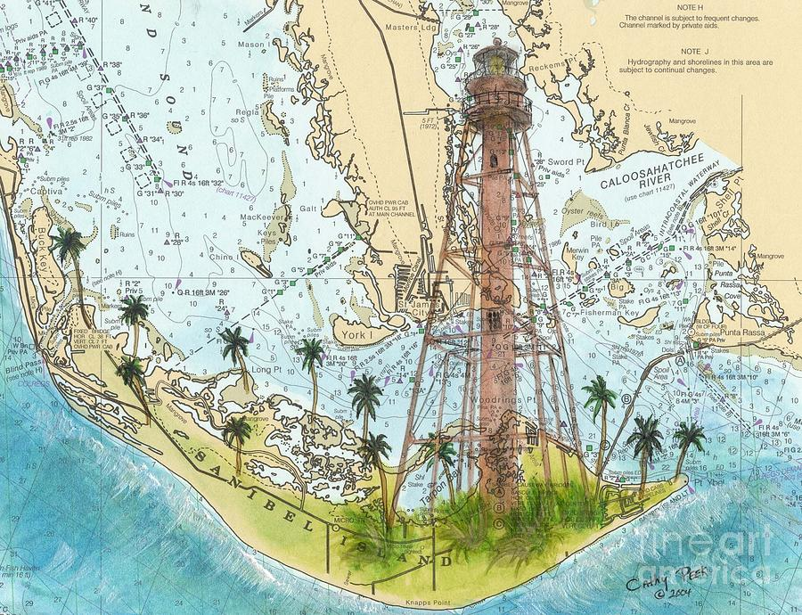 Sanibel Island Lighthouse Fl Nautical Chart Map Art Cathy