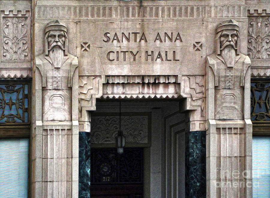 Deco Photograph - Santa Ana City Hall - 01 by Gregory Dyer