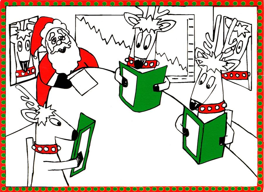 Santa Claus Painting - Santa And Reindeer Conference by Genevieve Esson