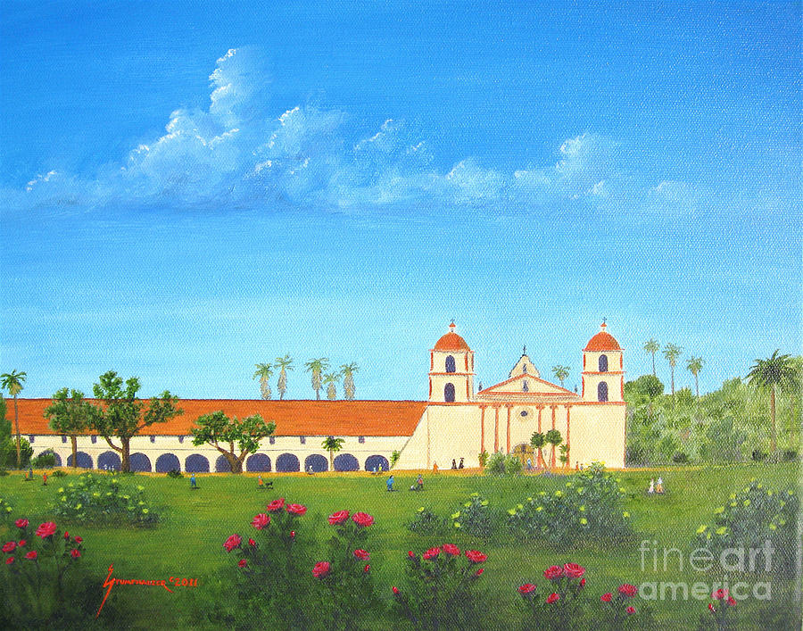 Santa Barbara Painting - Santa Barbara Mission by Jerome Stumphauzer