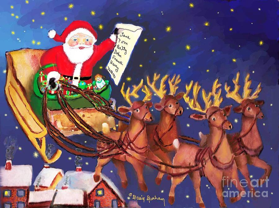santa digital art santa claus and his reindeers by dessie durham - Santa Claus And Reindeers