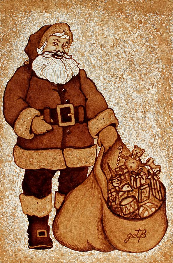 Winter Holidays Painting - Santa Claus Bag by Georgeta  Blanaru