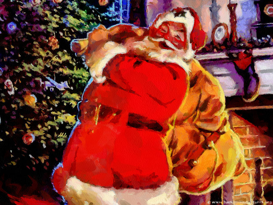 santa claus delivers gifts painting by georgi dimitrov