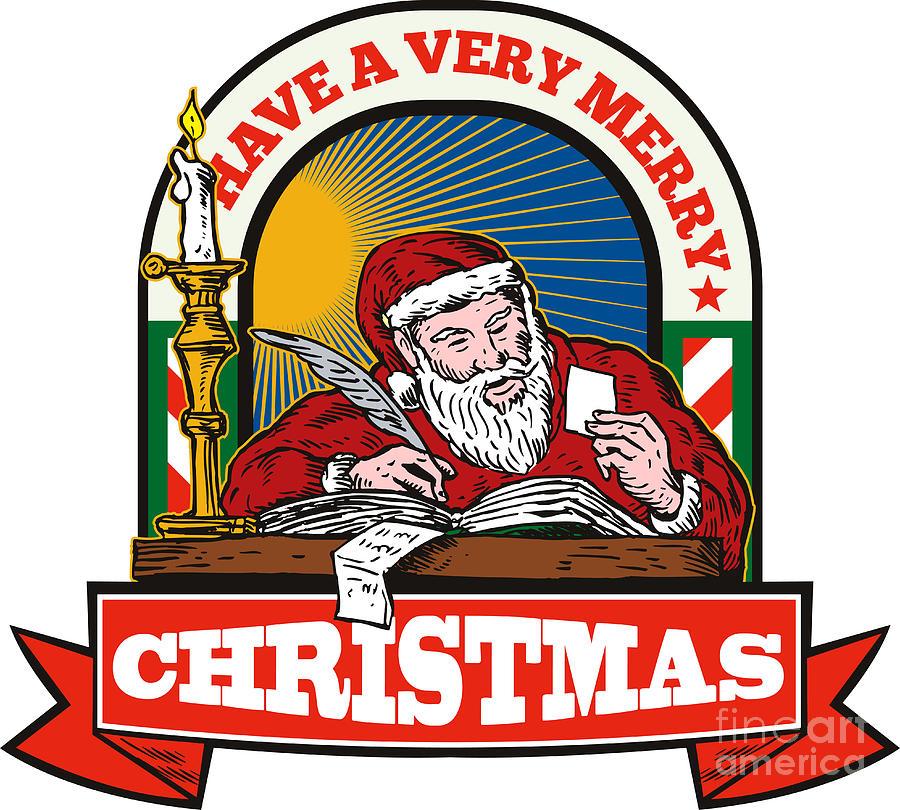 Santa Claus Digital Art - Santa Claus Father Christmas Writing Letter by Aloysius Patrimonio