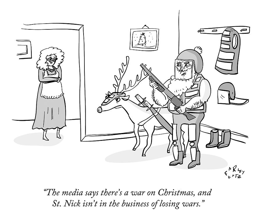Santa Claus Holds An Assault Rifle Drawing by Farley Katz