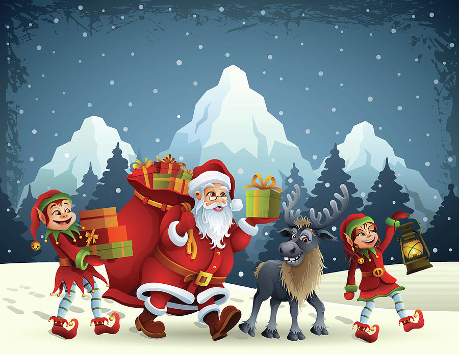 Santa Claus Is Coming Digital Art by Alonzodesign