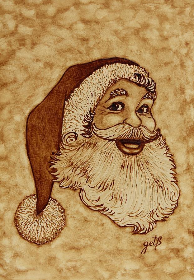 Santa Claus Joyful Face Painting By Georgeta Blanaru