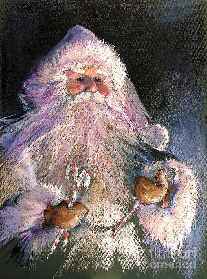 Santa Painting - Santa Claus - Sweet Treats At Fireside by Shelley Schoenherr