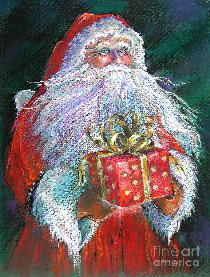 Santa Claus Painting - Santa Claus - The Perfect Gift by Shelley Schoenherr