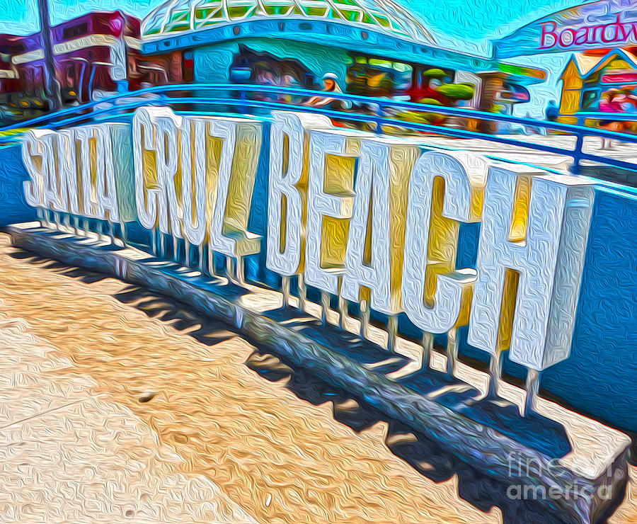 Santa Cruz Boardwalk Painting - Santa Cruz Boardwalk Sign by Gregory Dyer