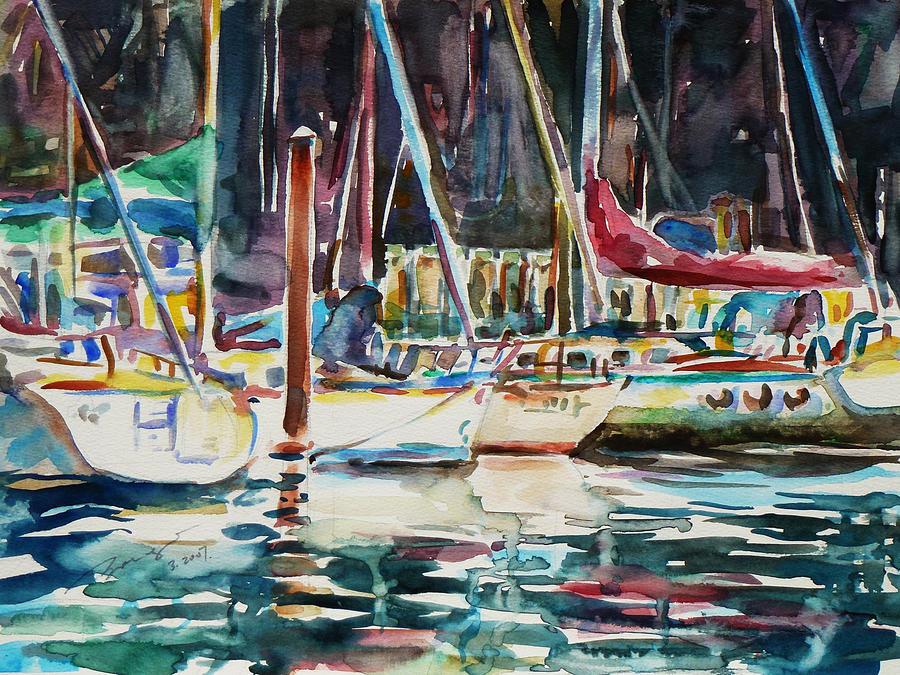 Watercolour Painting - Santa Cruz Dock by Xueling Zou