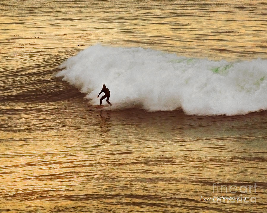 Surfer Photograph - Santa Cruz Surfing At The Golden Hour by Artist and Photographer Laura Wrede