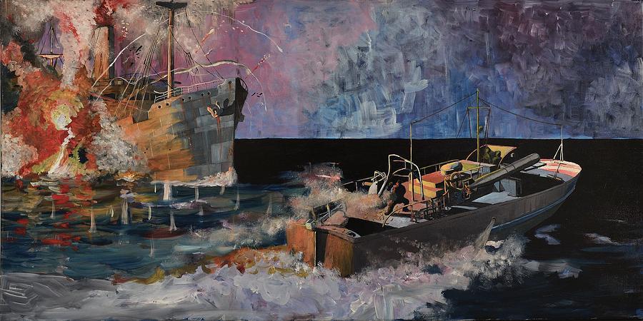 Ship Painting - Santa Eliza Martyred by Ray Agius