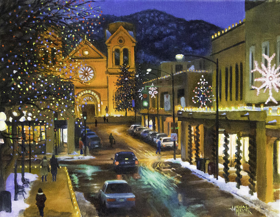 Santa Fe Christmas Painting By Michael Meyer