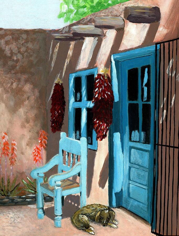Southwestern Painting - Santa Fe Courtyard by Karyn Robinson