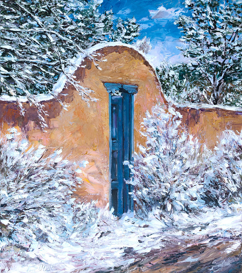 Canvas Santa Fe >> Santa Fe Winter Painting by Steven Boone
