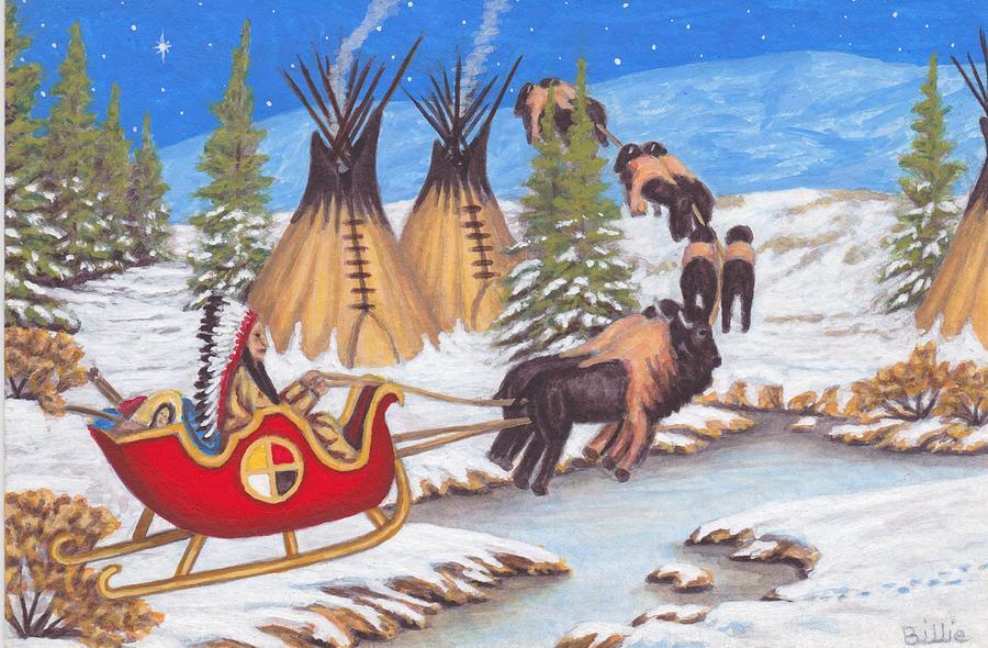 Santa Painting - Santa For Indians by Billie Bowles