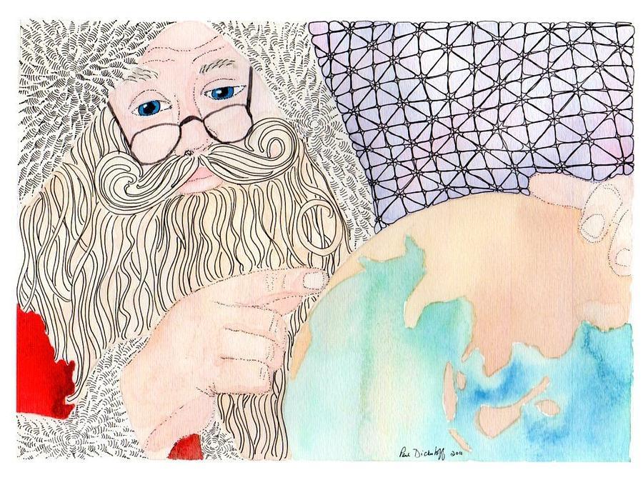 Santa Drawing - Santa Is Planning by Paula Dickerhoff