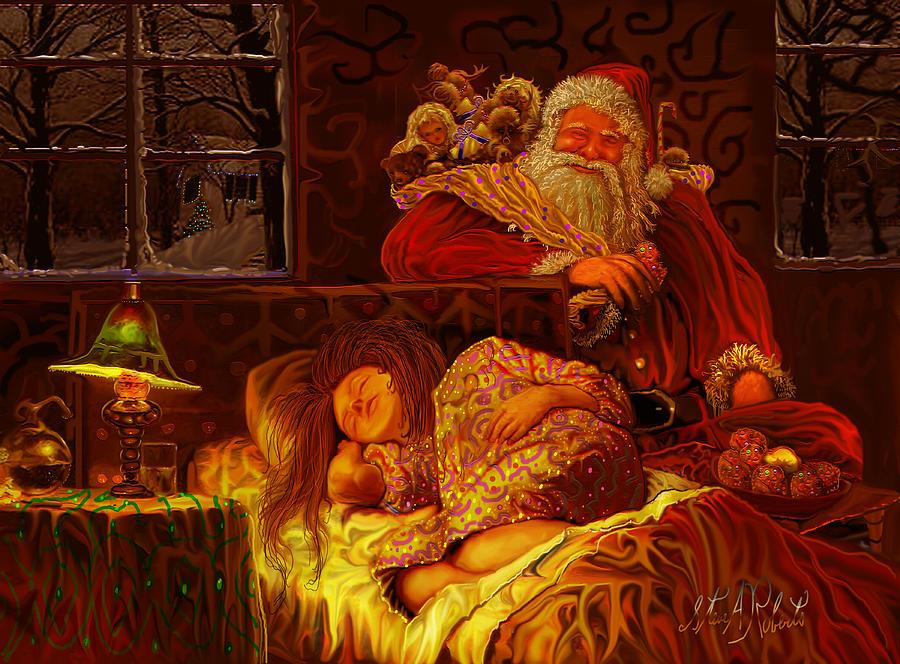 Christmas Painting - Santa Loves Cookies by Steve Roberts