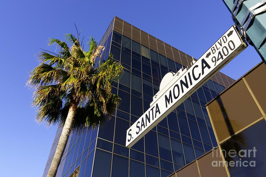 America Photograph - Santa Monica Blvd Sign In Beverly Hills California by Paul Velgos
