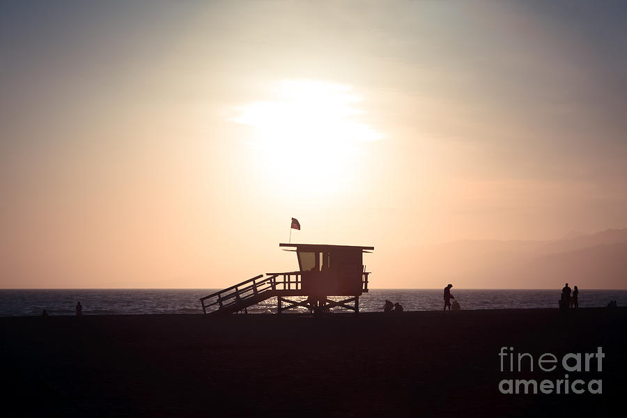 America Photograph - Santa Monica Lifeguard Stand Sunset Photo by Paul Velgos