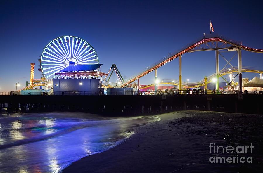 Santa Monica Pier At Night Photograph By Bryan Mullennix