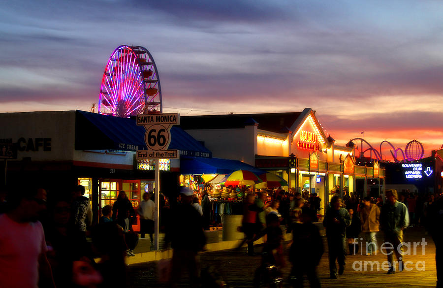 Santa Monica Pier Photograph - Santa Monica Pier At Sunset by Diana Sainz