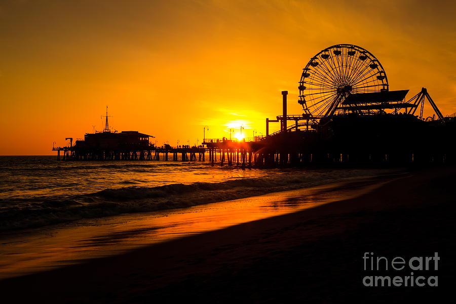 America Photograph - Santa Monica Pier California Sunset Photo by Paul Velgos