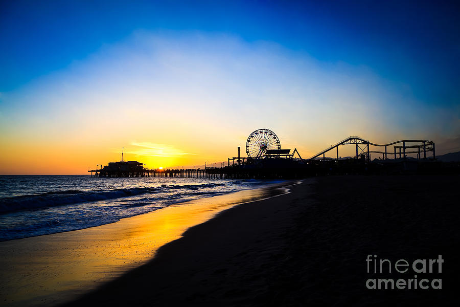 America Photograph - Santa Monica Pier Pacific Ocean Sunset by Paul Velgos