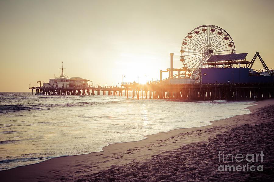 America Photograph - Santa Monica Pier Retro Sunset Picture by Paul Velgos