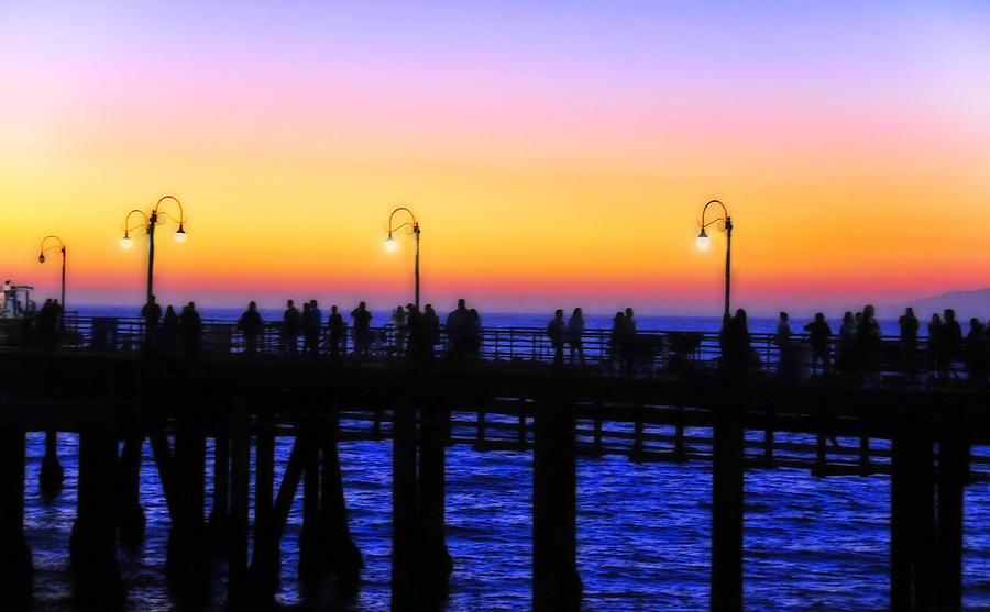 Landscape Photograph - Santa Monica Pier Sunset Silhouettes by Lynn Bauer