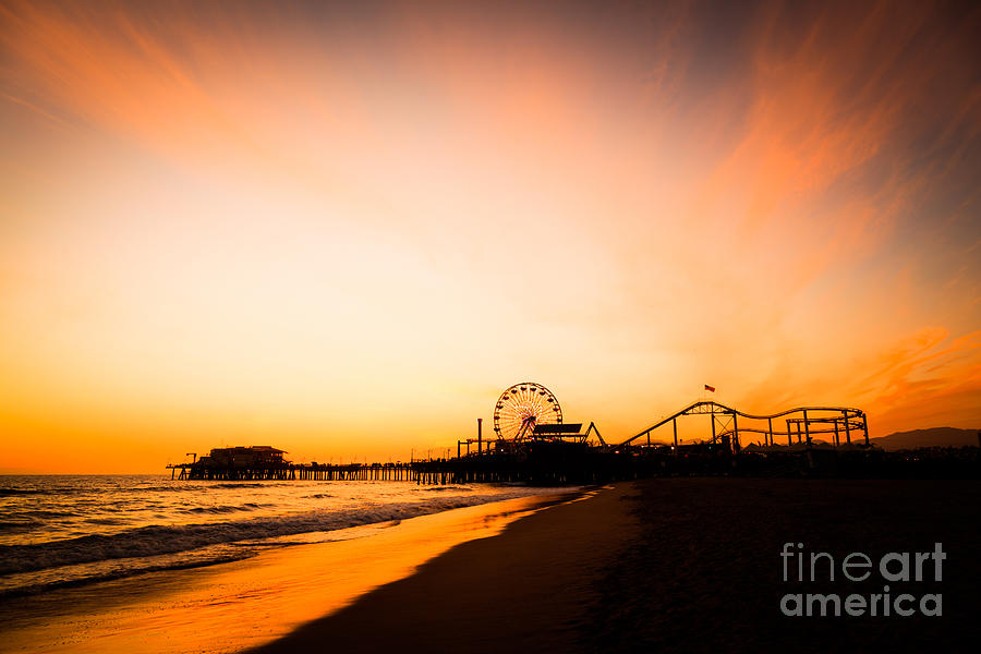 Santa Monica Pier Sunset Southern California by Paul Velgos