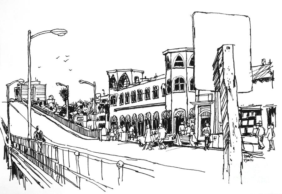 Santa Monica Pier With Merry Go Round Building Drawing By