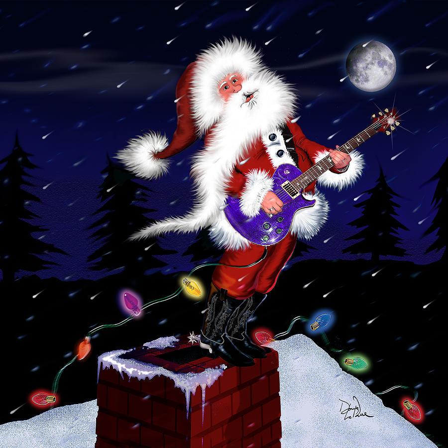 Sant Digital Art - Santa Plays Guitar In A Snowstorm 2 by Doug LaRue