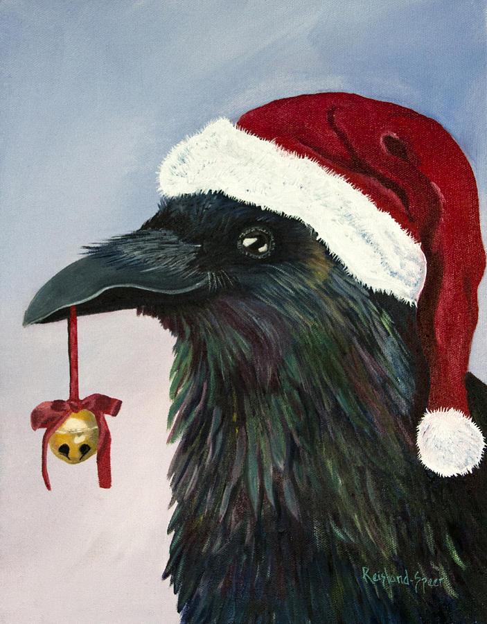 Raven Painting - Santa Raven by Amy Reisland-Speer