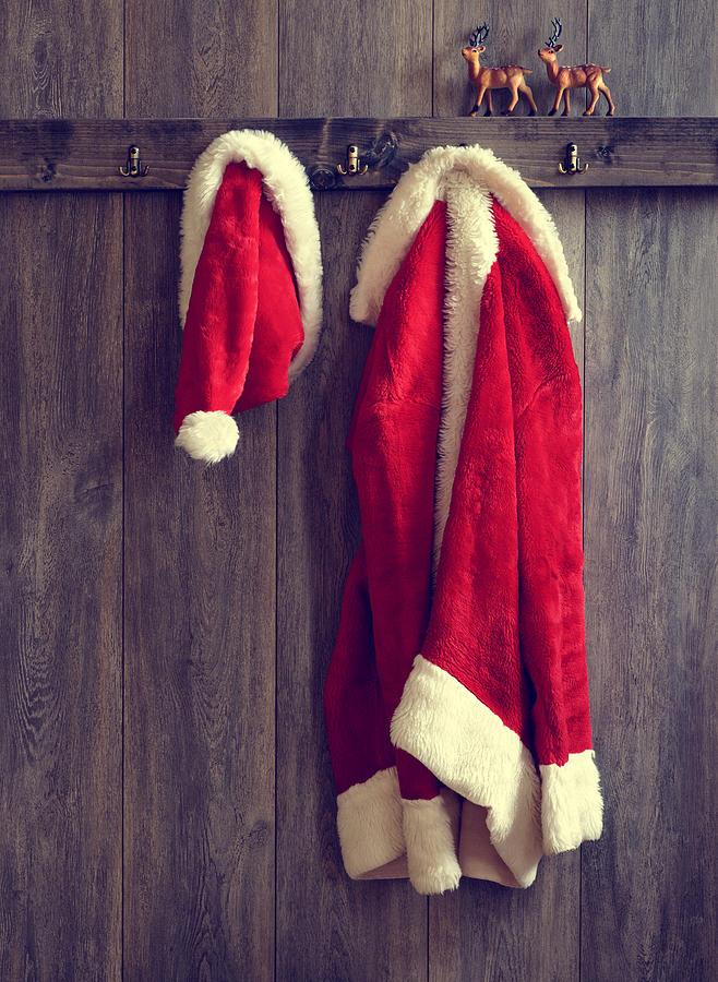 Santa Photograph - Santas Hat And Coat by Amanda Elwell