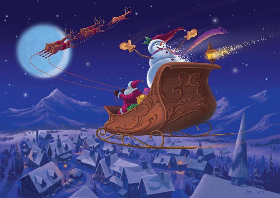 Christmas Painting - Santas Helper by Michael Humphries