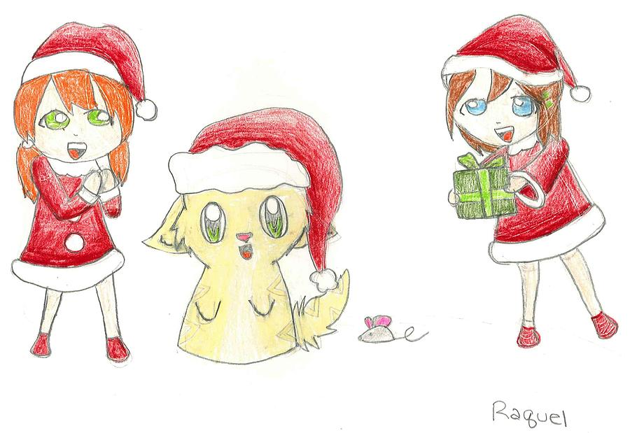 Santa Drawing - Santas Helpers by Raquel Chaupiz