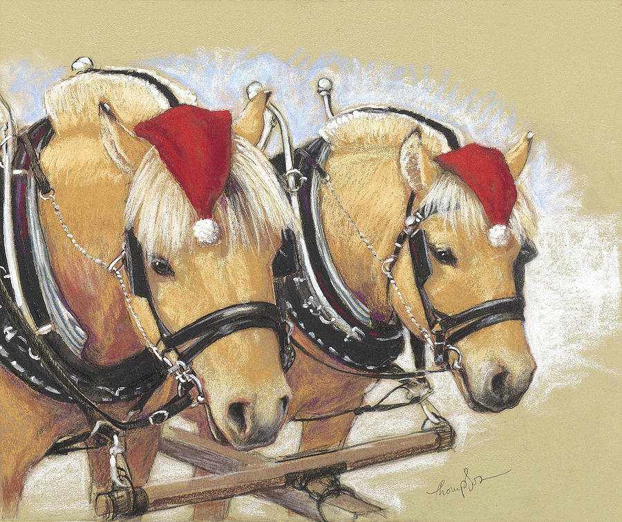 Fjord Horses Painting - Santas Little Helpers by Tracie Thompson