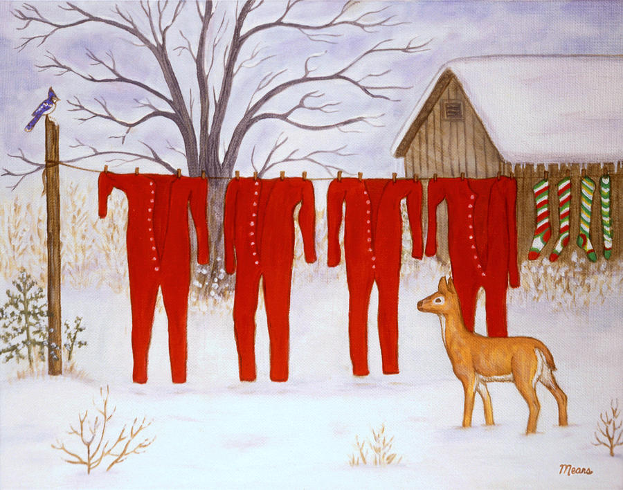 Santa S Long Johns Painting By Linda Mears