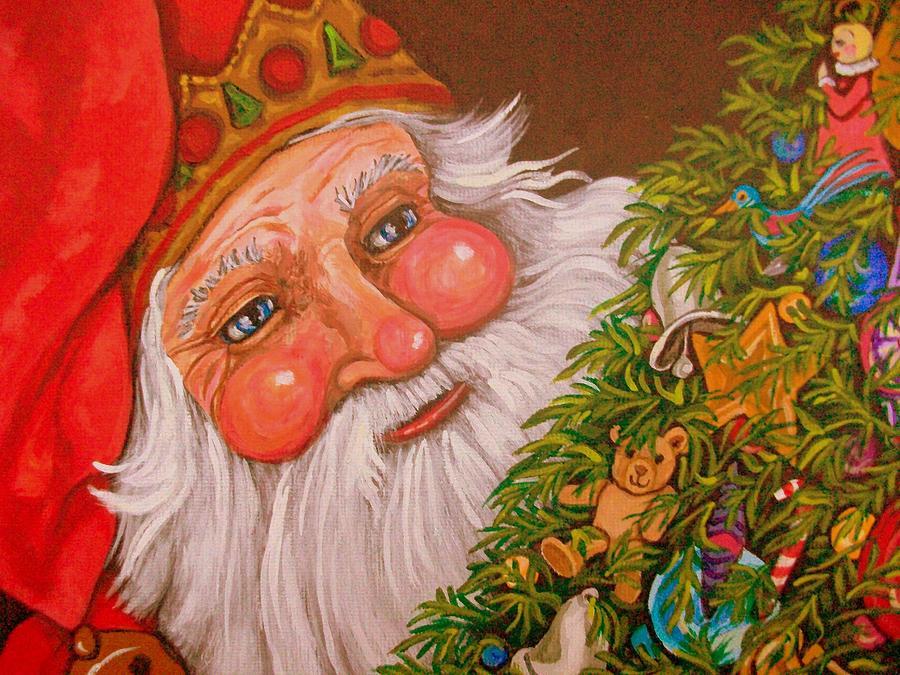 Santa Claus Painting - Santas Tree by Sherry Dole