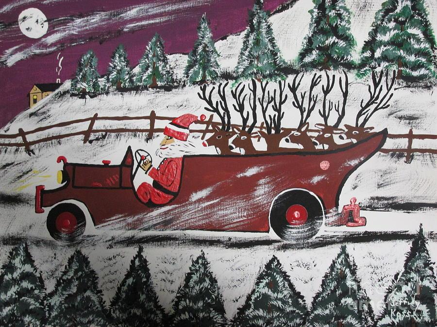 Christmas Card Painting - Santas Truckload by Jeffrey Koss
